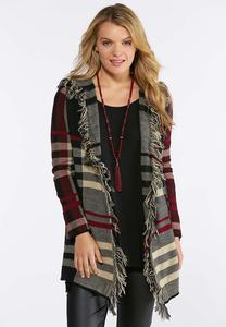 Plaid Fringe Hooded Cardigan