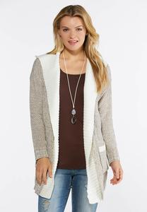 Hooded Marled Cardigan Sweater