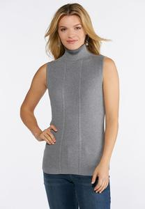 Plus Size Sleeveless Ribbed Turtleneck