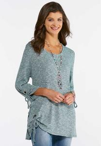 Plus Size Grommet Embellished Tunic