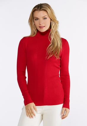 Red Ribbed Turtleneck Top