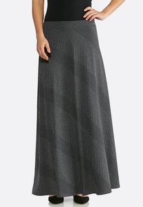 Plus Size Diagonal Ribbed Knit Maxi Skirt