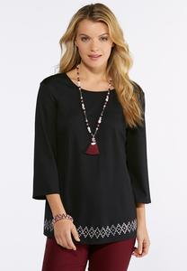 Plus Size Embellished Hem Knit Top