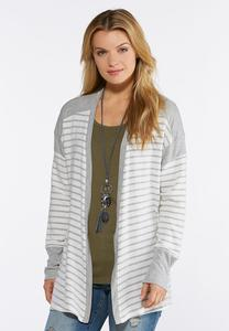 Plus Size Gray Striped Cardigan Sweater