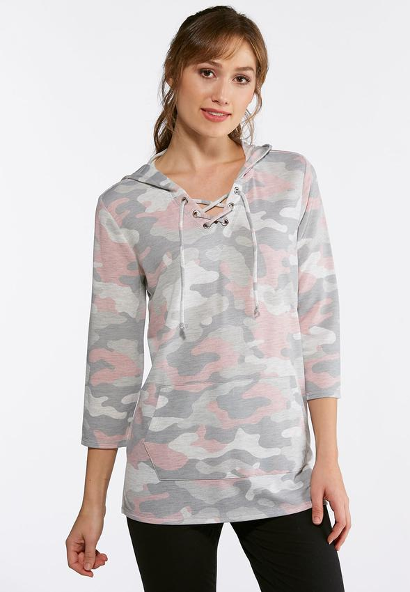 Camo Lace Up Hoodie Tops Cato Fashions 5911ad348