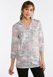 Plus Size Camo Lace Up Hoodie