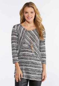 Plus Size Mixed Stripe Lurex Top