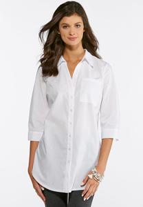 Split Back Button Down White Top