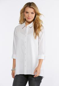 Plus Size White Button Down Tunic Top