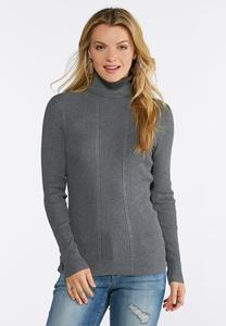 Gray Ribbed Turtleneck Top