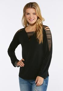 Plus Size Vented V-Neck Top