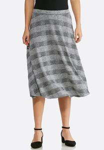 Stripe Hacci Midi Skirt