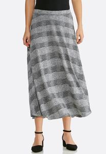 Plus Size Stripe Hacci Midi Skirt