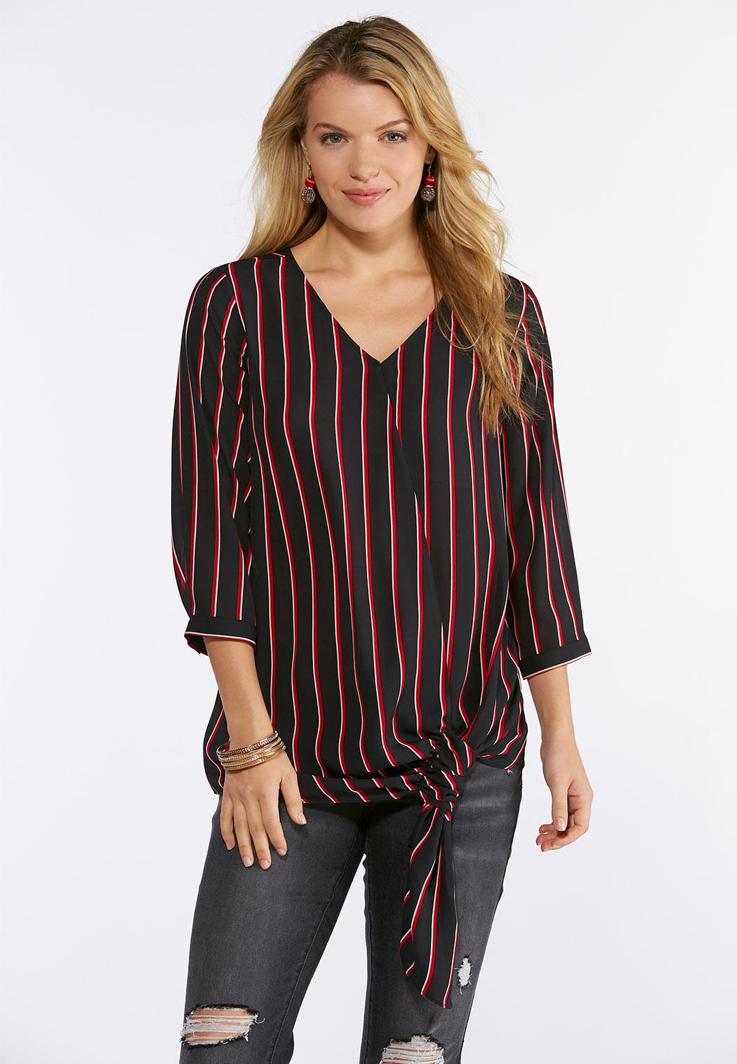 Plus Size Stripe Side Tie Top Shirts Blouses Cato Fashions