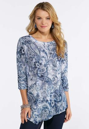 Plus Size Blue Asymmetrical Hem Top