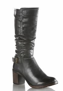 Block Heel Scrunched Boot