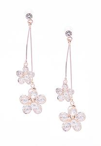 Cubic Zirconia Flower Wire Earrings