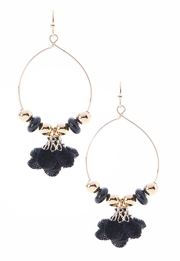 Velvet Flower Hoop Earrings Alternate View