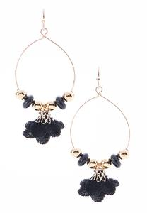 Velvet Flower Hoop Earrings