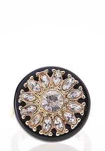 Rhinestone Flower Round Ring