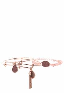 Rose Gold Bangle Stretch Bracelet Set