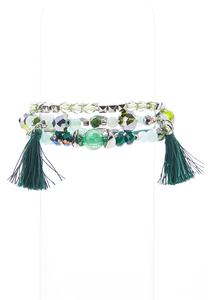 Emerald Tassel Stretch Bracelet Set