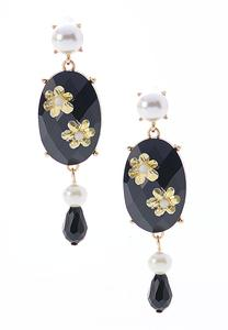 Black Stone Pearl Dangle Earrings