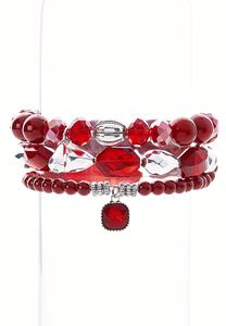 Rich Red Stretch Bracelet Set