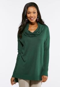 Plus Size Ribbed Cowl Neck Tunic Sweater