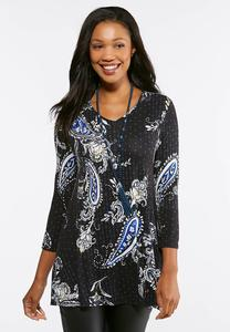 Plus Size Blue Floral Paisley Top