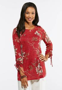 Plus Size Sparkle Knit Floral Tunic