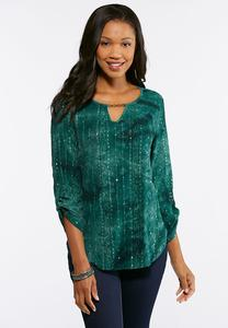 Plus Size Teal Embellished Top