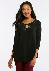 Plus Size Keyhole Studded Knit Top