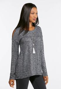 Plus Size Embellished Cold Shoulder Top