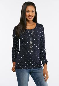 Plus Size Dotted Ruched Sleeve Top