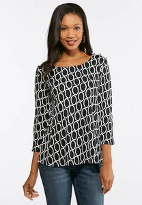 Button Trim Ring Patterned Top