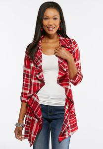 Plaid Cinched Back Jacket