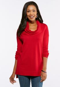 Red Cowl Neck Tunic Sweater