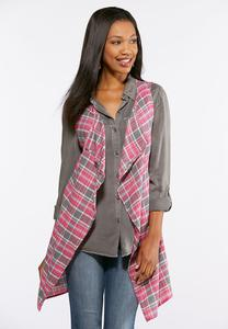 Plus Size Pink Plaid Waterfall Vest
