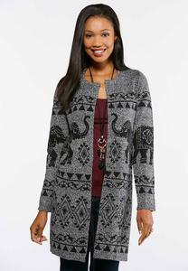 Plus Size Elephant Cardigan Sweater