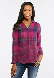 Purple Mixed Plaid Top