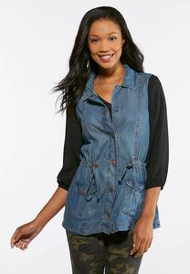 Plus Size Cinched Waist Denim Utility Vest