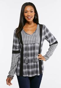 Plus Size Lace Inset Plaid Poet Top