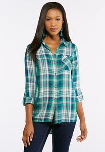 Plus Size Emerald Plaid Top
