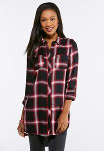 Plus Size Raspberry Plaid Tunic