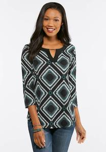 Textured Diamond Print Top