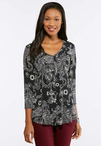 Pleated Puff Print Top