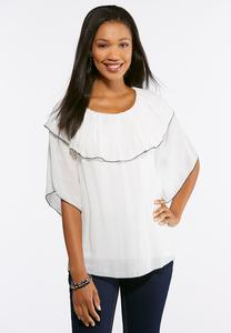 Plus Size Flounced Neck Gauze Top