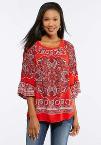 Plus Size Red Bandana Paisley Top