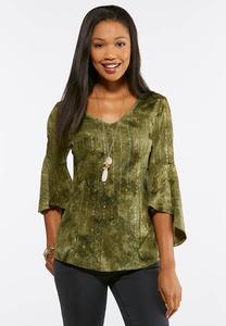 Green Embellished Bell Sleeve Top